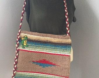 Woven Wool Western Tote Bag, market tote, beach bag