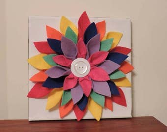 Harlequin dahlia felt flower canvas
