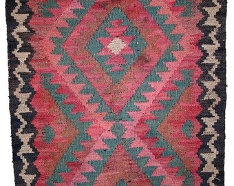 ON SALE 20% Off 1.8' x 2.7' ( 55cm x 82cm )  hand made vintage Afghan kilim rug 1960