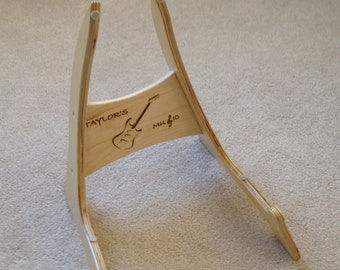 Wood Guitar Stand with Electric Guitar Logo.  FREE SHIPPING!!!