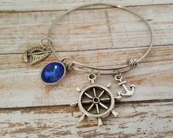 Nautical charm bracelet - Boat charm bracelet - Sailing charm bracelet - Nautical jewelry - Boat jewelry - Sailing boat - Boating jewelry