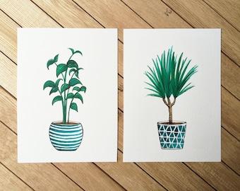 Plants duo, SALE, Original Watercolor Illustration