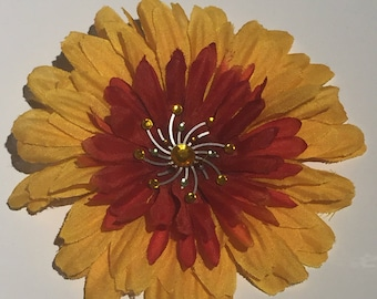 Orange and Yellow Flower Hair Clip
