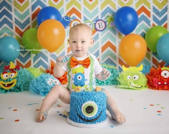 Little monster first birthday - monster suspenders - chevron - boy Birthday - monster theme - monster first birthday outfit - monster outfit