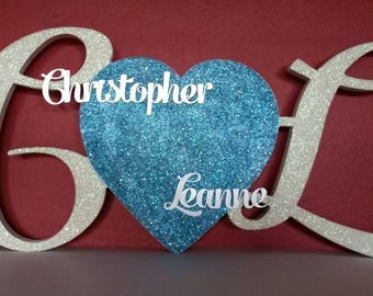 Wedding centerpiece, wedding and engagement keepsake, decorated initials with a heart