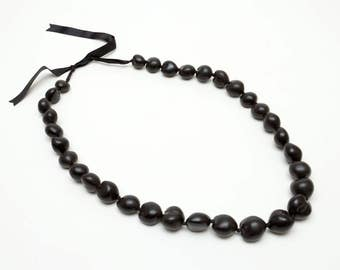 "Hawaiian Jewelry Symbolizing Peace, Protection, Enlightenment -- 31"" Black Kakui Net Necklace"