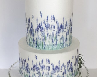 Edible Pattern Sheet, Lavender Watercolor  - Wafer Paper or Frosting Sheet