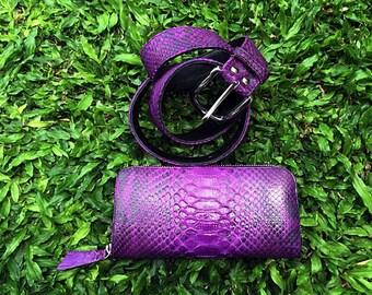 Womens Snakeskin Belt, Python Belt, Purple Leather Belt, Hand-made