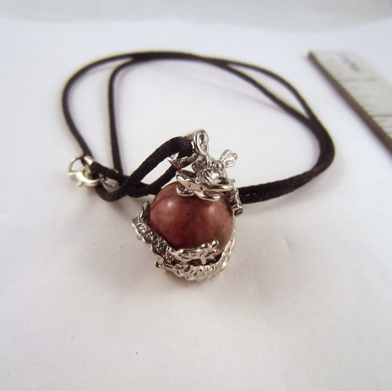 Rhodonite Dragon ball Necklace: Natural Crystal Pendant, Stone Jewelry
