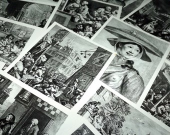William Hogarth print set - Black and white art postcard set - Unused vintage postcards - Black and white print set - Famous artists prints