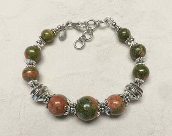 Unakite and .925 Sterling Silver Bracelet