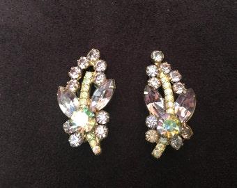 Juliana D&E Lavender and AB Rhinestone Climber/Spray Earrings 0877