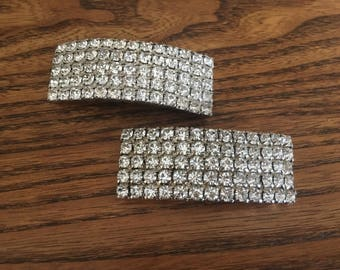 Vintage Layered Clear Crystal Rhinestone Shoe Clips 1157