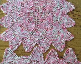 Vintage Pink 5 piece doily set