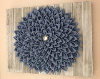 Wall decor kanzashi fabric flower whitewashed pallet blue