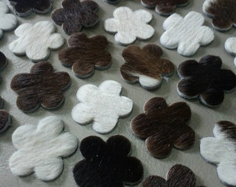 Hair on Cow Hide Leather Flowers, Sizes 16 mm. 20 mm. 25 mm. 30 mm. & Mixed sizes, Hair on Cow Hide Leather Die Cut,