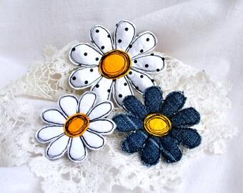 Fabric flower brooch set Denim white daisy textile flower brooch Textile art single flower pin Fabric flower jewelry Summer flower brooch