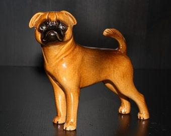 Petit Brabancon dog ceramic figurine handmade statue, statuette
