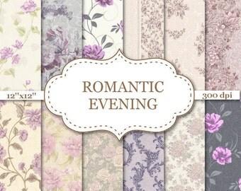 "ROMANTIC EVENING Floral digital paper Lilac Purple Floral Digital Paper Floral Pattern Floral  background Lilac Digital Papers 12""x12"" #P126"