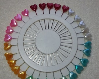 Heart tipped extra long plastic headed pins multicolour