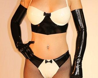 Latex Tuxedo lingerie set