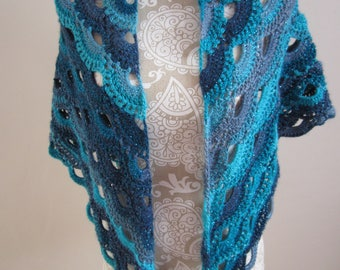 Handemade Blue Crochet Shawl or  Wrap made in the Virus Pattern
