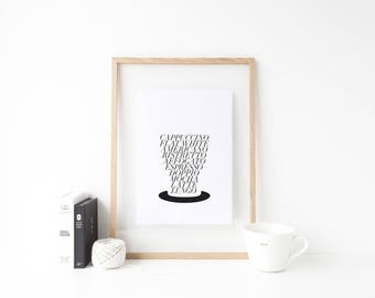 Coffee cup nouns / Kitchen print / Caffeine / Cappuccino / Latte / Americano / Flat white / typography print
