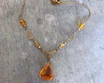 Vintage glass necklace, vintage crystal necklace, vintage amber necklace, crystal necklace, amber glass necklace, Art Deco necklace, amber