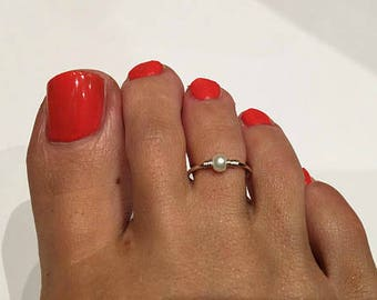 Peral Sterling Silver Toe Ring/ Pearl Foot Jewelry/Silver toe ring/Adjustable toe ring/(Non Tarnish)
