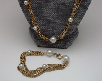 Vintage Emmons Jewelry, Emmons Necklace, Faux Pearl Chain, Emmons Jewelry Set, Emmons Bracelet, Pearl Station Necklace, Multi Chain Pearl