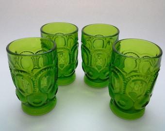 Vintage L E Smith Glassware, L E Smith Tumblers, Moon and Stars, LE Smith Glasses, Green Glass Tumblers, L E Smith Green, Green Glassware