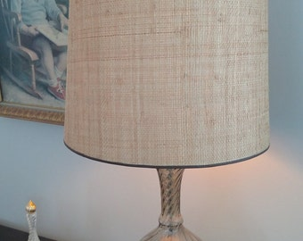 Mid Century Modern Retro Gold Trim, Gold Leaf Twisted Glass Lamp, with weaved lamp shade