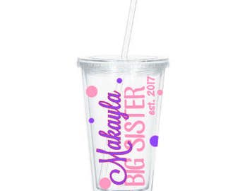 Personalized Big Sister Gift, Big Sister Tumbler,  Pregnancy Reveal,  New Big Sister, Baby Shower, Sibling Gift, Personalized Tumbler