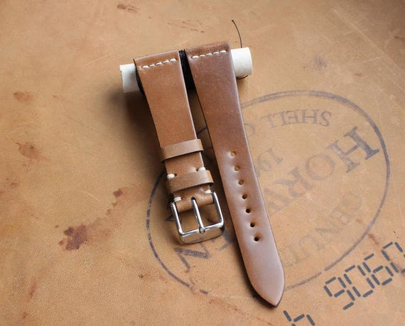 20/16mm Bourbon Horween Shell Cordovan watch band - simple middle stitch