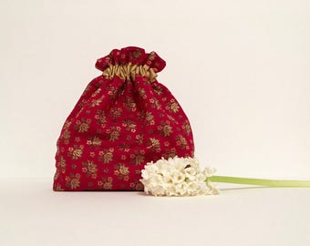 Wedding bag, bridal bag, flower girl bag, dark pink/red drawstring pouch, hand made bag, bridesmaids bag, wedding gift, evening bag