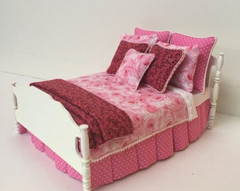 Dollhouse Miniature Custom Bed with Coordinating Fabrics