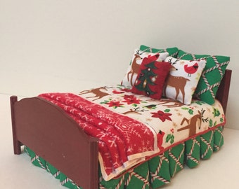 Dollhouse Miniature Custom Holiday Bed with Coordinating Fabrics
