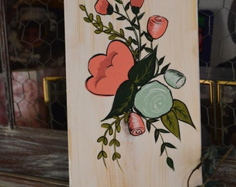 Flower Art Wooden Sign