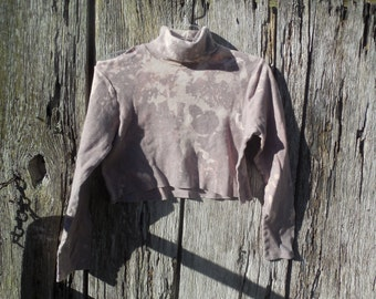One of a kind bleached ripped and torn gray crop top turtleneck size small post apocalyptic hipster urban street wear long sleeve t shirt