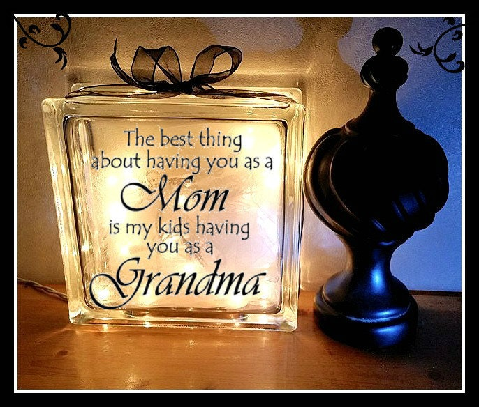 Grandma Block 8 x 8 Glass block Night light Mother's