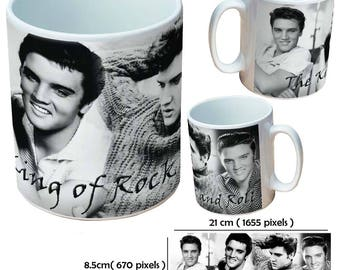 Elvis Presley The King of Rock and Roll black and white collage picture mug cup as a special custom gift for a friend, family or colleague