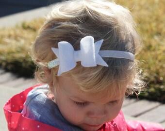 White felt bow headband, white bow headband, toddler headband, Easter headbands, white headbands, baby headbands, girl headbands