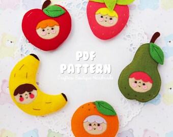 Kawaii Fruit Babies PDF Pattern. Digital Pattern. Felt Soft Toy Pattern.