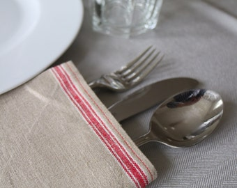 Set of 4 - red seam napkins made from antique linen