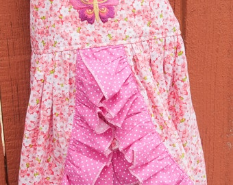 Sun dress - Pink floral (3T)