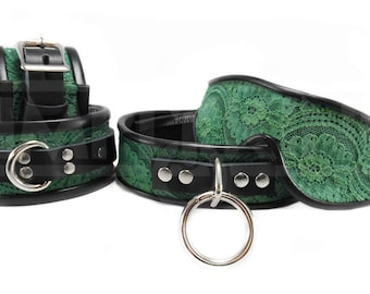 Bondage Cuffs and BDSM Collar with Blindfold in Dark Green Lolita Lace
