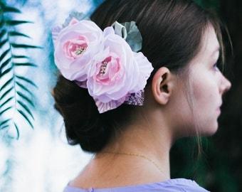 White Pink Wedding Flower Hair Piece,Bridal Headpiece,Bridal Flower Fascinator,Bridal Flower Hair Clip,Bridal fascinator,flower Bridal Comb