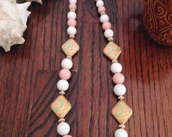 Vintage 80s Pastel Beaded Necklace
