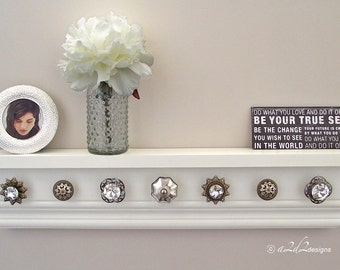 "Jewelry Organizer, Necklace Holder, White Shelf with Hooks, Jewelry Storage, Wall Mount, 27"" Decor, Crystal Anniversary, For Mom"