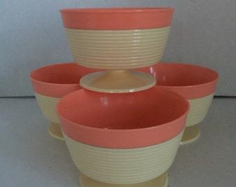 Four Pedestal Insulated Icecream Bowls  by Thermo Temp Raffia Ware